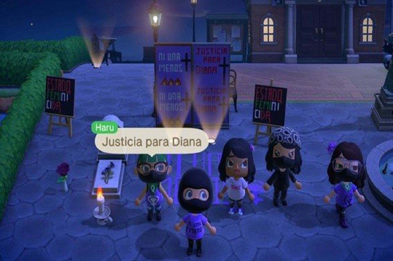 Animal Crossing New Horizons protesta feminicidios